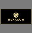 sh hexagon logo design inspiration vector image vector image