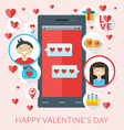 Smartphone with love sms and st Valentine icons vector image vector image