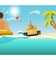 The sudden intrusion of tank on the beach vector image vector image