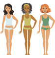 three fit multiracial girls vector image