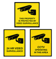 Video surveillance camera sign black and yellow vector image