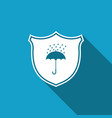 waterproof icon with long shadow shield umbrella vector image vector image