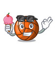 with ice cream volleyball character cartoon style vector image