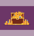 wooden treasure chest with gold vector image vector image