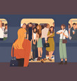 young woman trying to enter subway train car full vector image