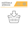 add to cart editable stroke line icon vector image