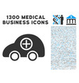 ambulance car icon with 1300 medical business vector image vector image