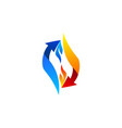 arrow flames connection logo symbol icon design vector image