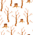 Autumn trees seamless pattern vector image