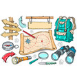 backpack camping gear hiking vector image vector image