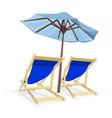 beach chair with umbrella vector image vector image