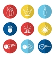 Bowling line icons set vector image