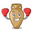 boxing amphora character cartoon style vector image