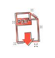 cartoon pdf download icon in comic style pdf vector image