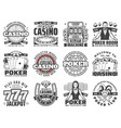casino gambling games isolated icons vector image vector image
