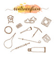 contraception methods hand drawn set birth vector image