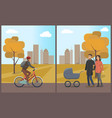 couple with pram walking in autumn park vector image