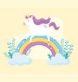 cute magical unicorn walking rainbow plants vector image vector image