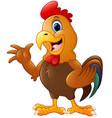 cute rooster cartoon waving hands vector image