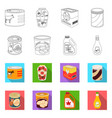 design of can and food logo set of can and vector image vector image