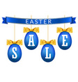 easter egg sale 3d banner set gold ribbon bow vector image vector image