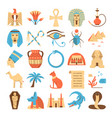 egypt colorful icons set in flat style vector image vector image