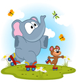 elephant and mouse roller skating vector image