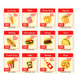 fast food restaurant menu price cards vector image vector image