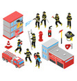 fire department isometric icons set vector image vector image