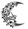 flourishes with moon and love words vector image
