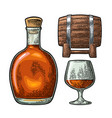 glass barrel and bottle of cognac vintage vector image vector image