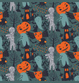 halloween seamless pattern with cute vector image