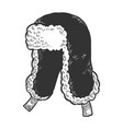 hat with ear flaps ushanka sketch engraving vector image vector image