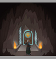 hero in the mystic cave vector image vector image
