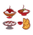 indian cuisine traditional food dishes flat vector image vector image