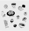 japanese food line art set vector image
