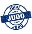 judo blue round grunge stamp vector image vector image