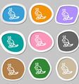 Kangaroo Icon symbols Multicolored paper stickers vector image