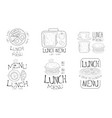 lunch menu hand drawn retro labels set time to vector image vector image