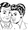 Man and woman love couple in pop art comic style vector image
