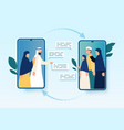muslim families video conferencing vector image vector image