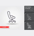 office chair line icon with editable stroke vector image