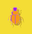 paper sticker on background of scarab vector image vector image