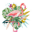 pink flamingo isolated on white vector image vector image