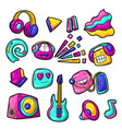 set cartoon musical items music party colorful vector image