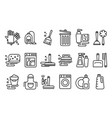 set of linear icons on cleaning theme vector image vector image