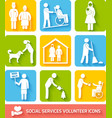 Social services icons set flat vector image vector image