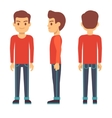 Standing young man boy character in front back vector image vector image