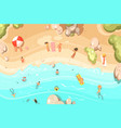 summer sandy beach with vacationers vector image