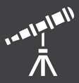 Telescope solid icon astronomy and science
